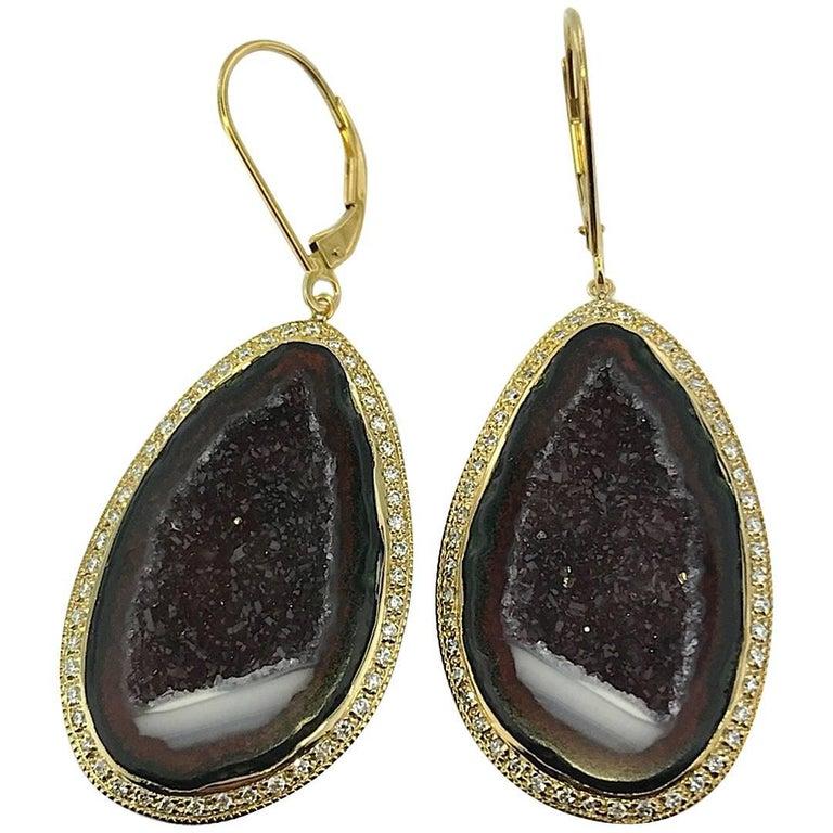 Geode Drop Earrings Set in 14 Karat Yellow Gold with .75 Carat Total of Diamonds