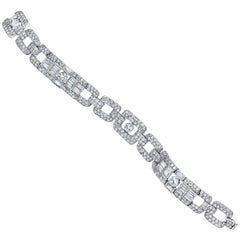 Platinum Art Deco Diamond Fancy Link Bracelet