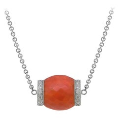 Antique Coral Pendant Flanked by Diamond-Set Rondels