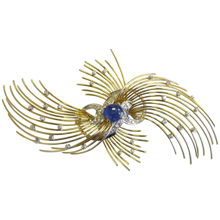 Vintage Blue Sapphire Cabochon and Diamond Brooch in 18 Karat Gold