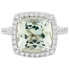 Matthew Ely Green Beryl and Diamond Cocktail Ring