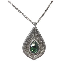 Demantoid Green Garnet Pear Shape and Diamond Necklace in 18 Karat White Gold