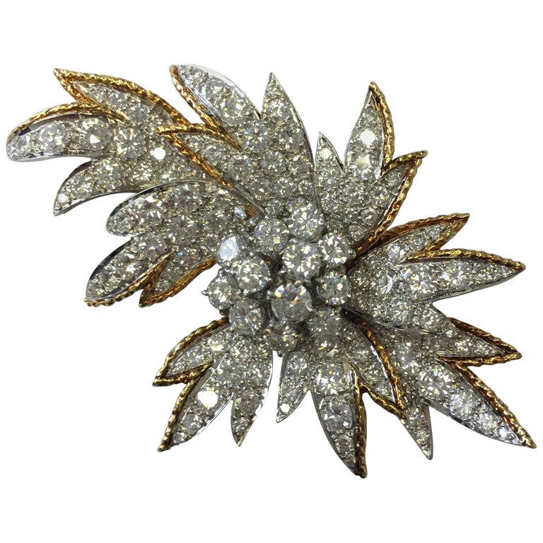 Estate Look White Diamond, Platinum and Yellow Gold Brooch