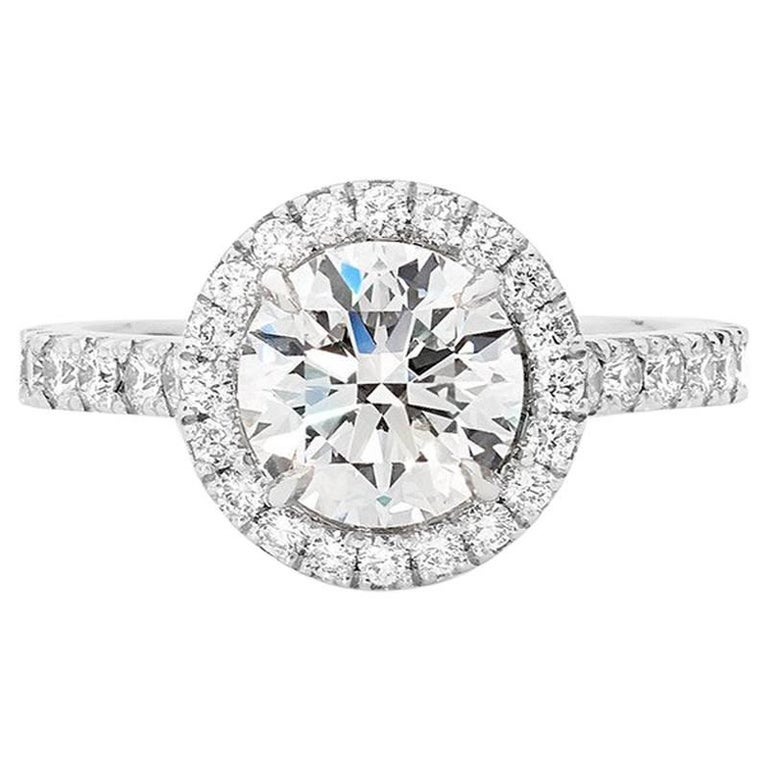 18 Carat White Gold Diamond Halo Engagement Ring GIA Certified For Sale