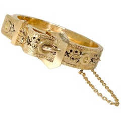 Victorian Gold and Enamel Bangle Bracelet, circa 1875