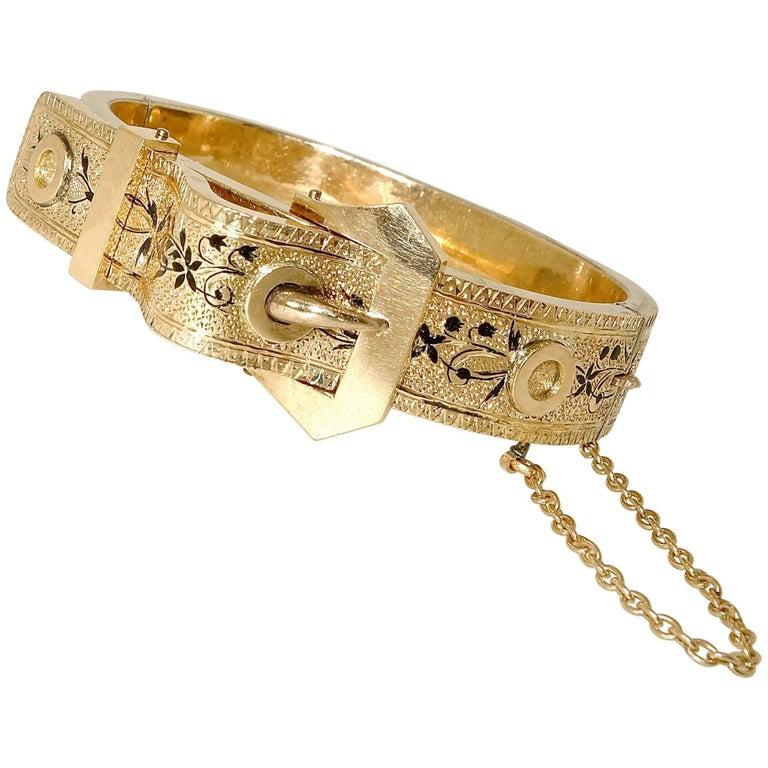 Victorian Gold and Enamel Bangle Bracelet, circa 1875