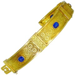 Antique Finely Chased Gold Link Bracelet, circa 1890