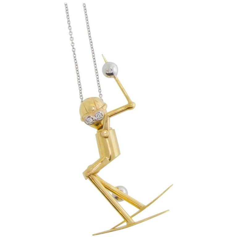 Skier Pendant in Gold with Diamond Accents For Sale