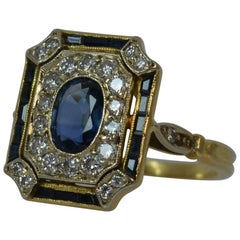 Sapphire and Diamond 18 Carat Gold Panel Cluster Ring
