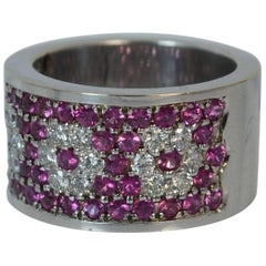 Heavy and Chunky 18 Carat White Gold VS Diamond and Ruby Cluster Band Ring d0108