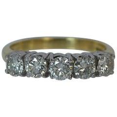 1.25 Carat Diamond 18 Carat Gold Five-Stone Half Eternity Stack Ring