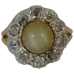 1828 Georgian 15ct Gold Cats Eye Chrysoberyl & Diamond Mourning Cluster Ring