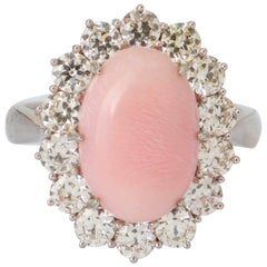 Conch Pearl and Diamond White Gold Cluster Ring