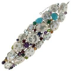 Cultured Pearls White Gold Cuff Bracelet