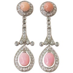 Conch Pearl and Diamond 18 Karat White Gold Drop Earrings