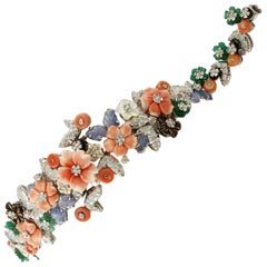 2.79 Carat Diamonds, Coral, Sapphires, Beads and Stones, White Gold, Bracelet