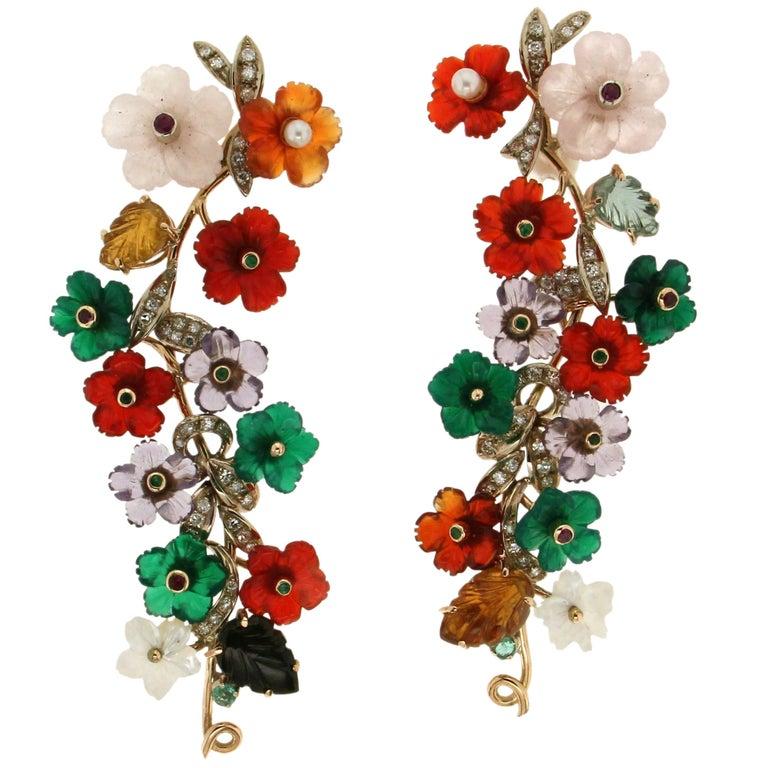 Yellow Gold 14 karat Flowers Stud Earrings