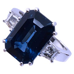 GIA AGL Certified 7.92 Carat No Heat Octagonal Cut Siam Sapphire Diamond Ring