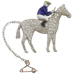 1890s Antique 2.55 Carat Diamond and Enamel Yellow Gold Horse and Jockey Brooch