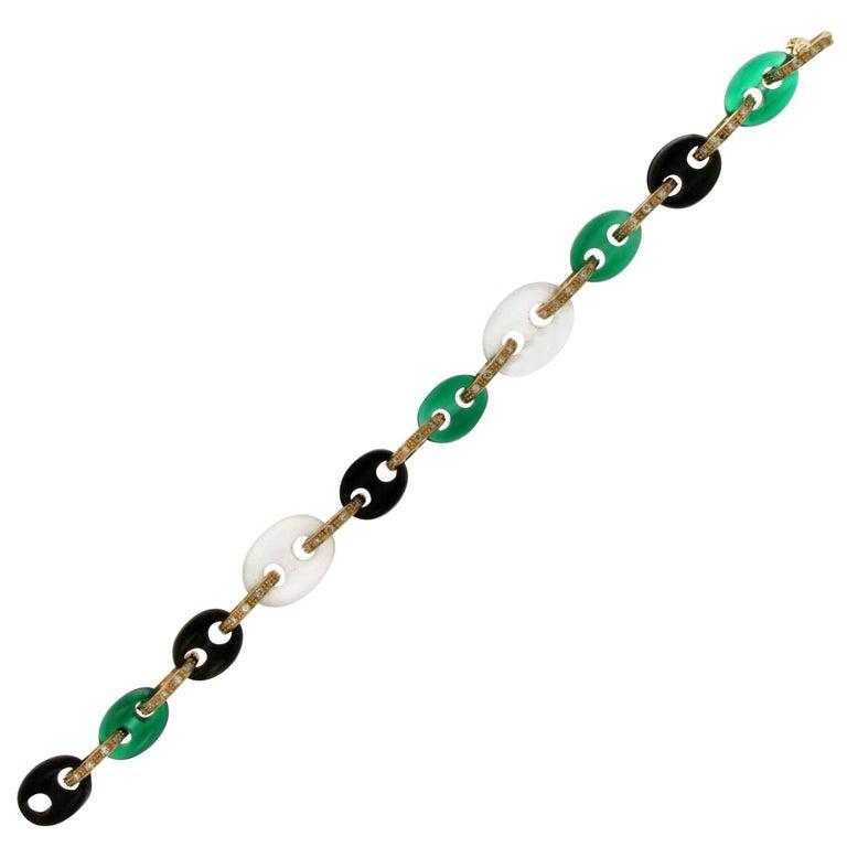 Yellow Gold Diamonds Cuff Bracelet