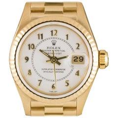 Rolex Datejust Ladies Gold Cream Enamel Boiler Gauge Dial 69178 Automatic Watch