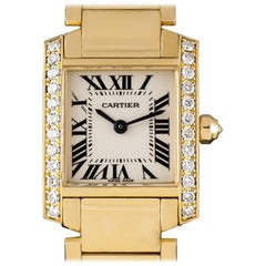 Cartier Tank Francaise Ladies Gold Silver Roman Dial Diamond Set Quartz Watch