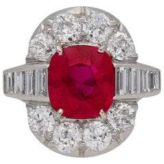 Art Deco Natural Unenhanced Pigeon Blood Burmese Ruby and Diamond Ring