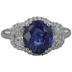 4.55 Carat Ceylon Royal Blue Sapphire Cocktail Ring Half-Moon Diamond 18K Gold