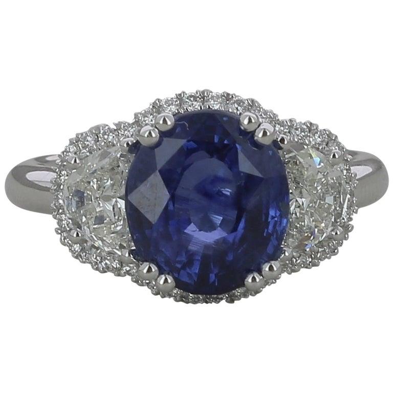 GRS Certified Royal Blue Non Heated 4.55 Carat Sri Lanka Sapphire Ring