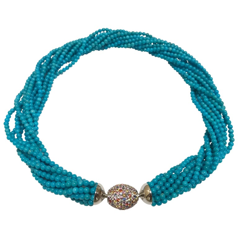 Turquoises and Fancy Sapphires White Gold Clasp Multi-Strand Necklace
