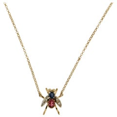 Yellow Gold Diamonds Fly Pendant Necklace
