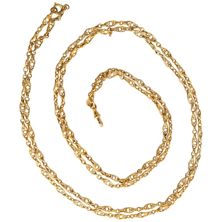 Handmade Long Gold Chain Necklace
