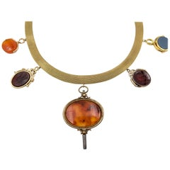Gold and Hardstone Swivel Fob Necklace