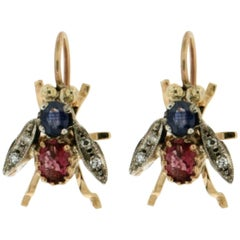 Yellow Gold Fly Stud Earrings