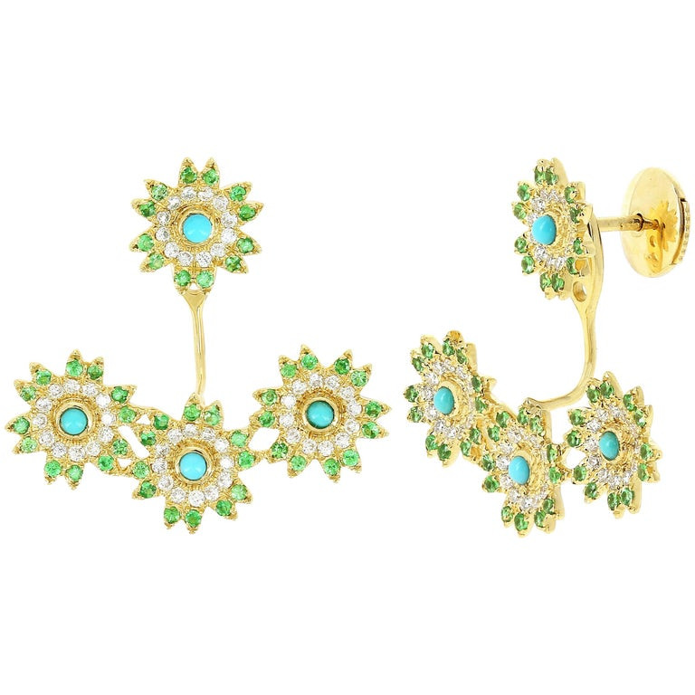 Yvonne Leon's Earring in 18 Karat Gold with Diamonds, Turquoise, Tsavorites