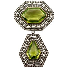 Victorian Antique Silver on Gold Diamond Peridot Drop Brooch