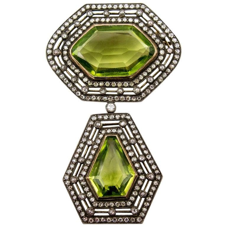 Victorian Antique Silver on Gold Diamond Peridot Drop Brooch