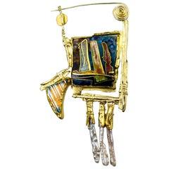 "William Harper Cloisonne Enamel Silver Gold Pearl ""Aurora Borealis #1"" Brooch"