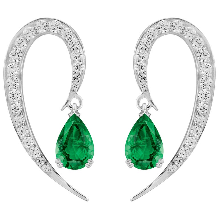 Liv Luttrell Full Curve White Gold and Diamond Emerald Earrings