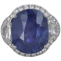 GRS Certified Blue Oval Non Heated Sri Lanka 15.96 Carat Sapphire Ring