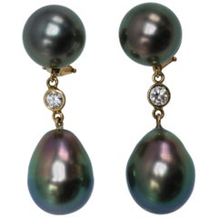 Tahitian Pearl and Diamond Pendant Earclips