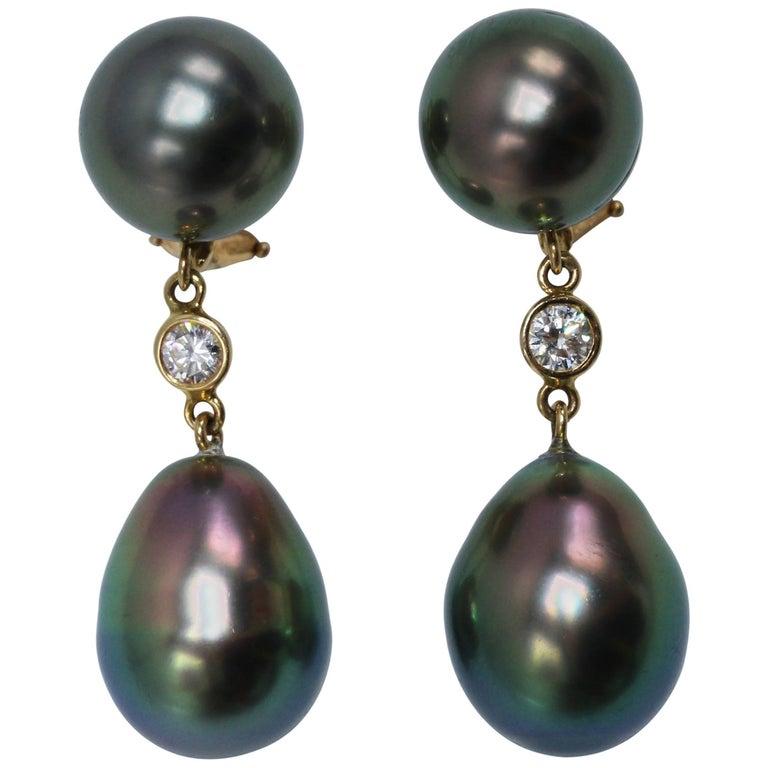 Tahitian Pearl and Diamond Pendant Earclips