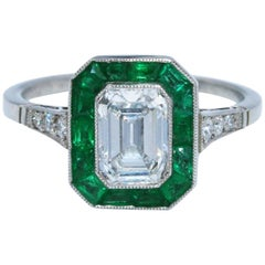 1.19 Carat Diamond and Emerald Engagement Ring
