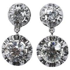 1940s Diamond and Platinum Pendant Earrings