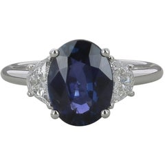 GRS Certified Oval Royal Blue 3.26 Carat Sri Lanka Sapphire Ring