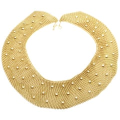 Tiffany & Co. Elsa Peretti Diamond Large Yellow Gold Mesh Necklace