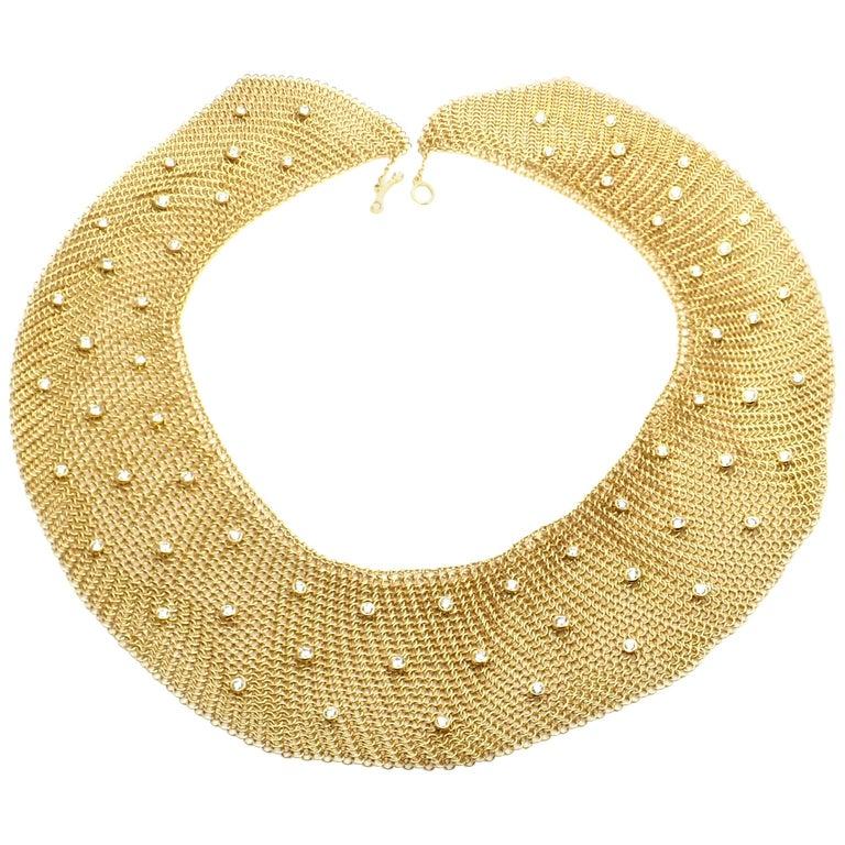 Tiffany & Co. Elsa Peretti Diamond Large Yellow Gold Mesh Necklace
