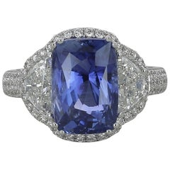 6.77 Carat Natural Ceylon Blue Sapphire Ring Half-Moon/Round Diamond 18K Gold