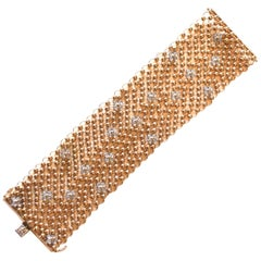 18 Karat Mesh and Diamond Flower Bracelet