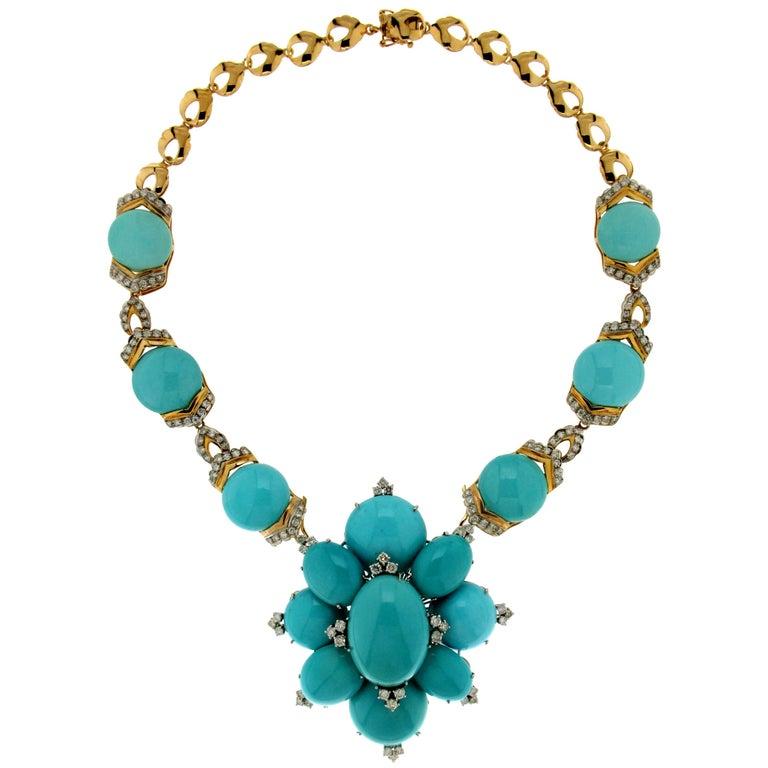 Turquoise Yellow Gold Diamonds Pendant Necklace